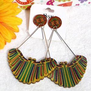 New! Long Bohemian Earrings Tribal Wood Dangles